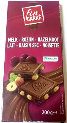 шоколад Fin Carre Cream Chocolate Raisins & Hazelnut (с фундуком и изюмом) 200гр.