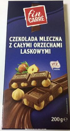 Шоколад молочный Fin Carre (с цельным лесным орехом) 200гр.